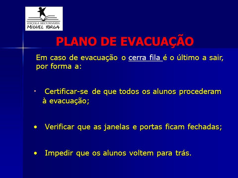 PLANO DE EVACUAÇÃO Em caso de evacuação o cerra fila é o último a sair, por forma a: Certificar-se de que todos os alunos procederam à evacuação;