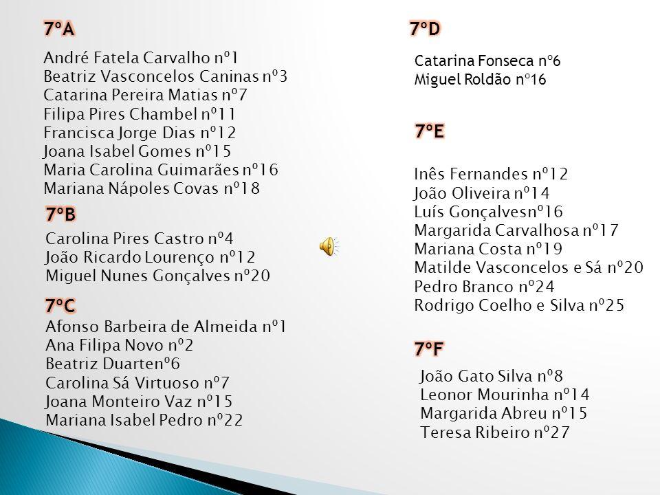 7ºA 7ºD 7ºE 7ºB 7ºC 7ºF André Fatela Carvalho nº1 Catarina Fonseca nº6