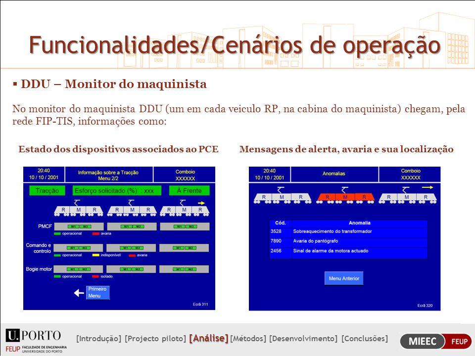 Funcionalidades/Cenários de operação