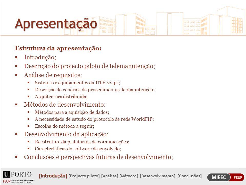 Apresentação Estrutura da apresentação: Introdução;