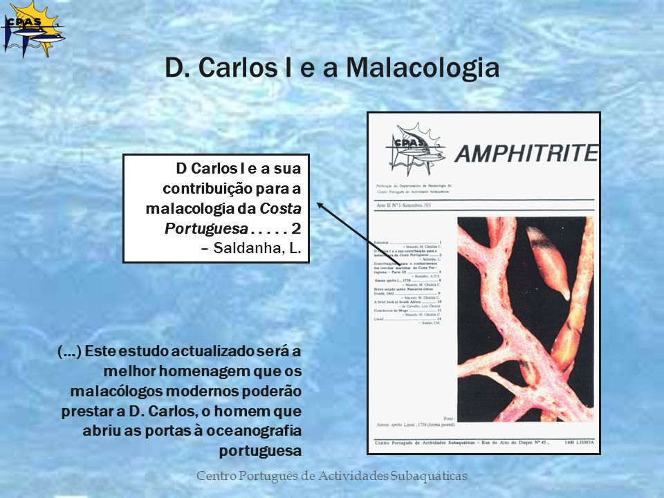 D. Carlos I e a Malacologia