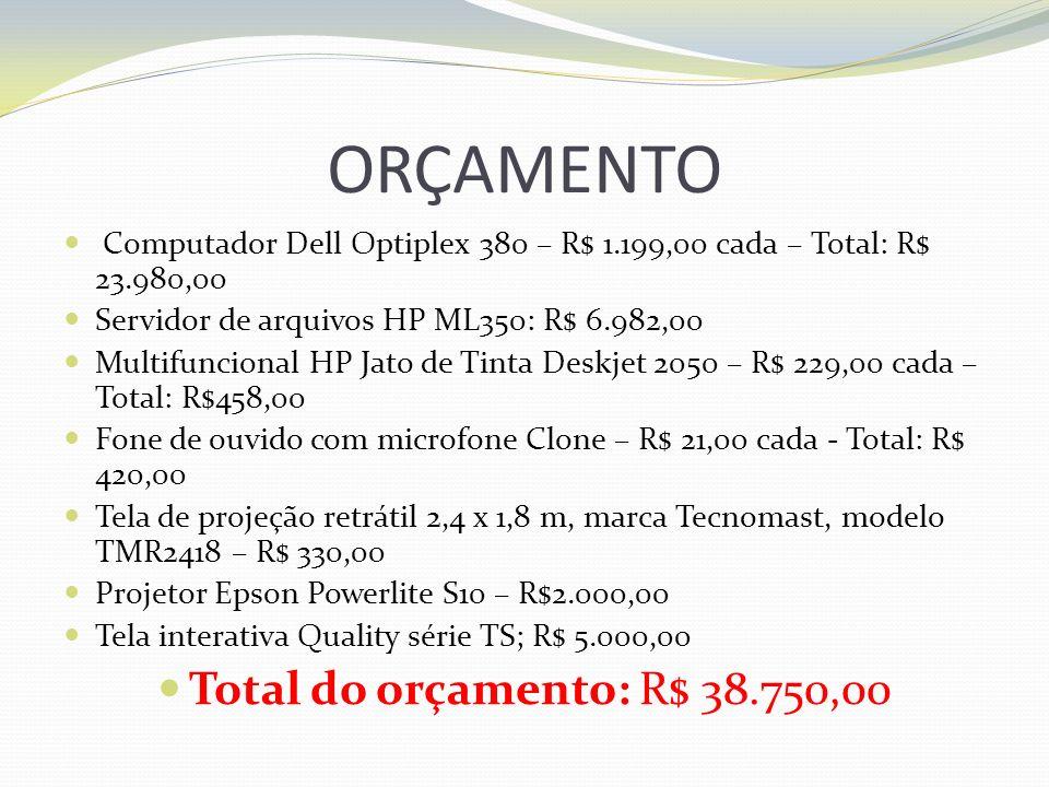 ORÇAMENTO Total do orçamento: R$ 38.750,00