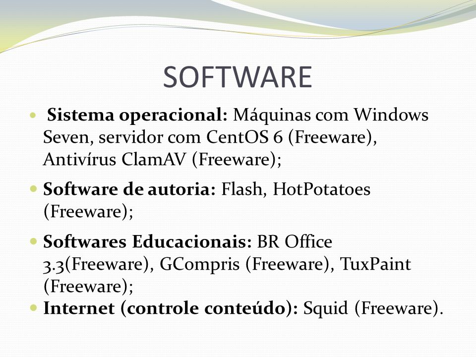 SOFTWARE Software de autoria: Flash, HotPotatoes (Freeware);