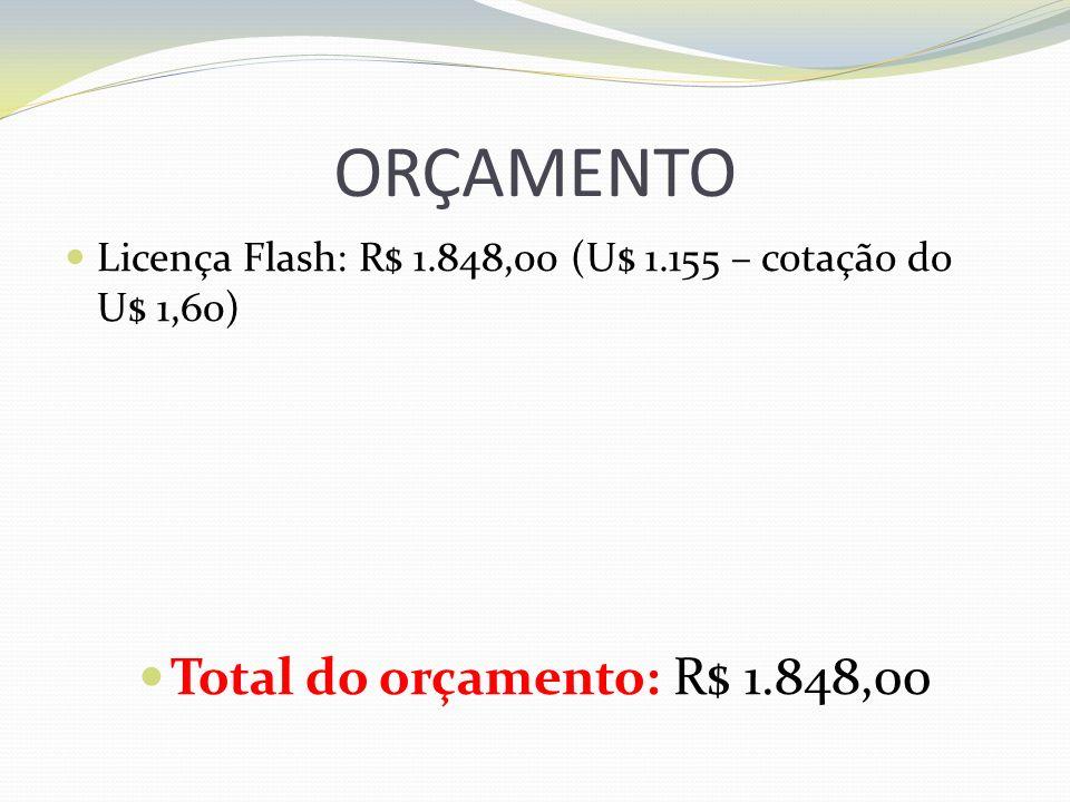 ORÇAMENTO Total do orçamento: R$ 1.848,00