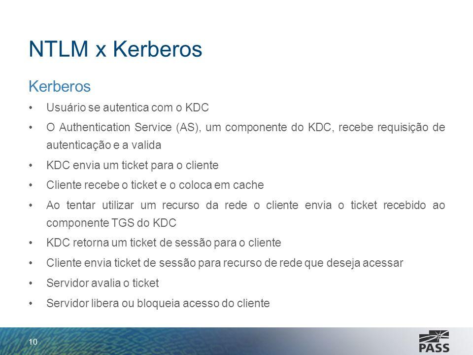 NTLM x Kerberos Kerberos Usuário se autentica com o KDC