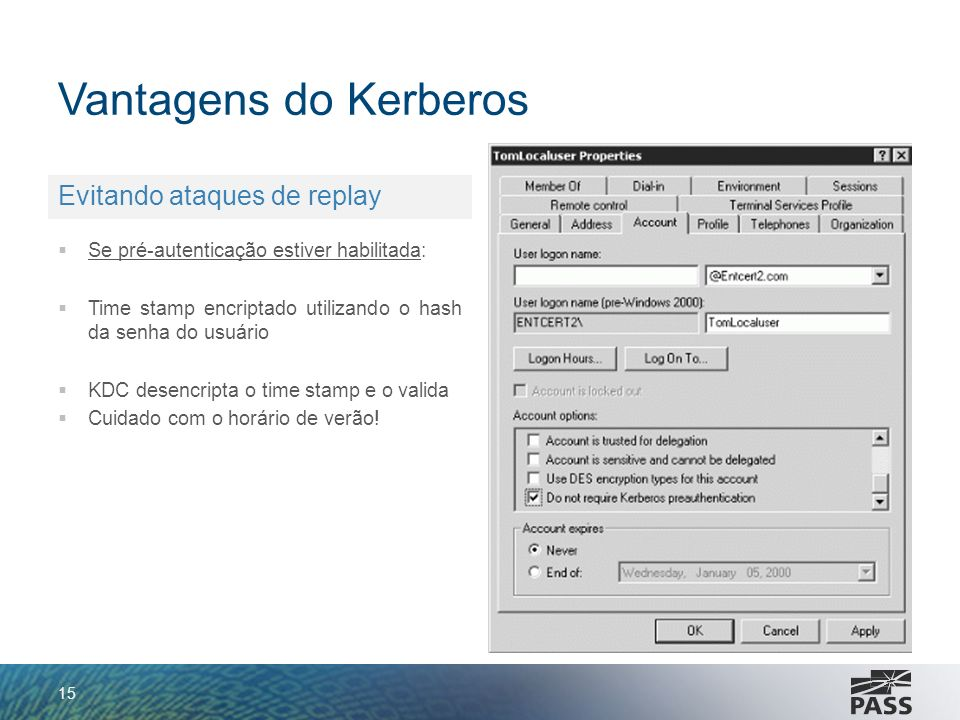 Vantagens do Kerberos Evitando ataques de replay
