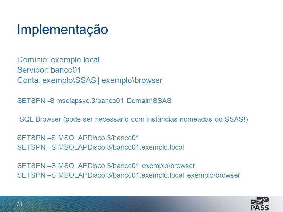 Implementação Domínio: exemplo.local Servidor: banco01