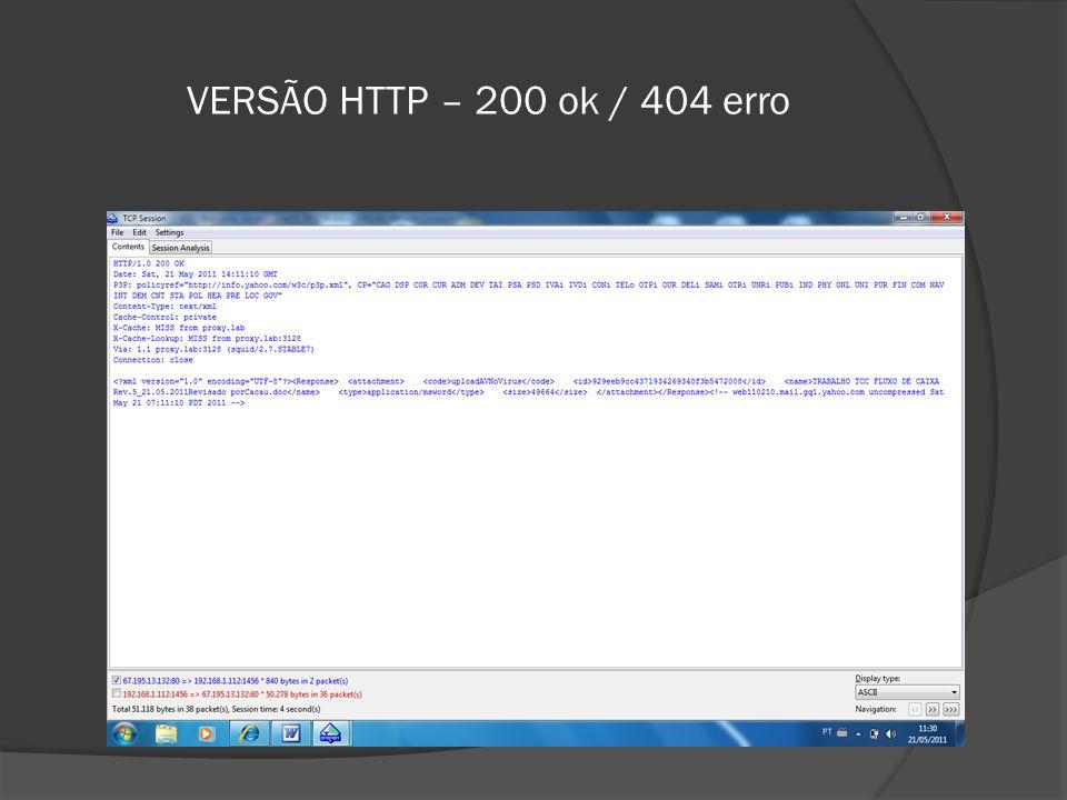 VERSÃO HTTP – 200 ok / 404 erro