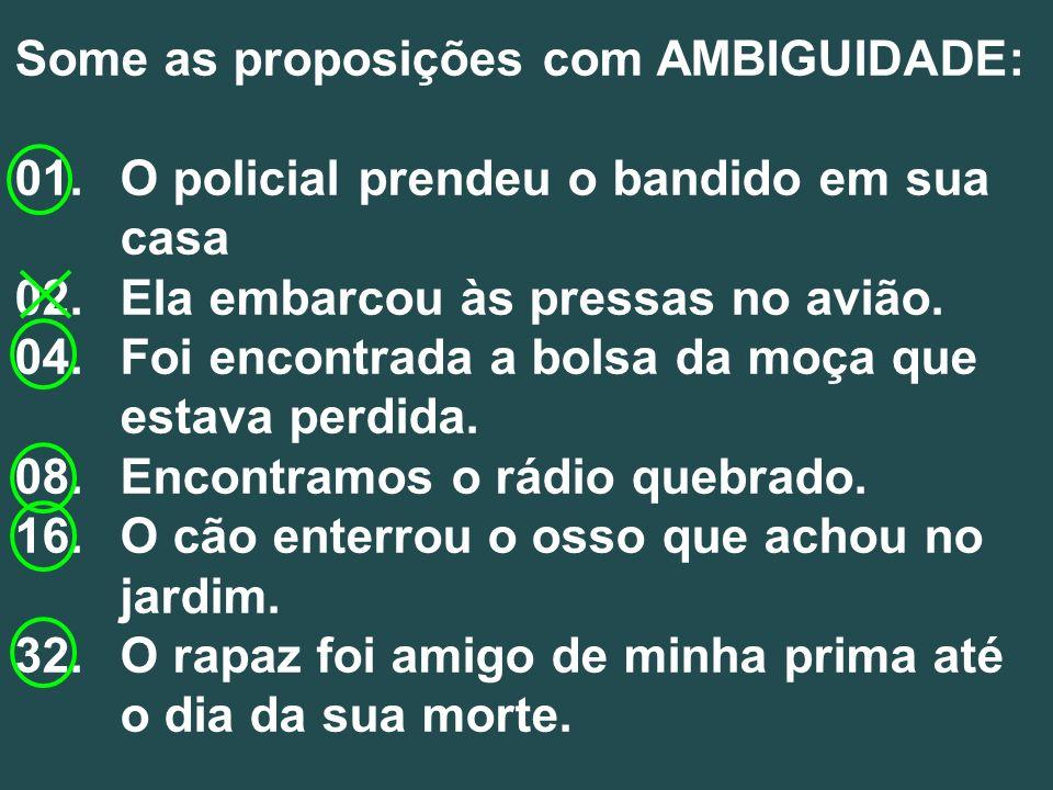 Some as proposições com AMBIGUIDADE: