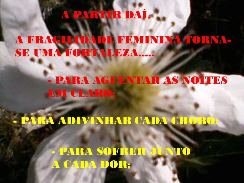 A PARTIR DAÍ, A FRAGILIDADE FEMININA TORNA-SE UMA FORTALEZA..... - PARA AGUENTAR AS NOITES EM CLARO;