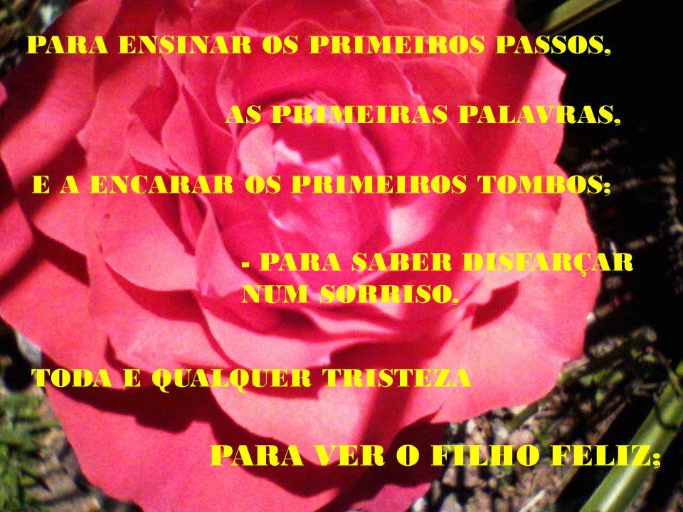 PARA VER O FILHO FELIZ; PARA ENSINAR OS PRIMEIROS PASSOS,