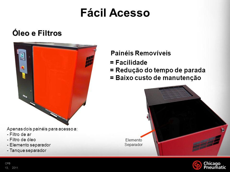 Fácil Acesso Óleo e Filtros Painéis Removíveis = Facilidade