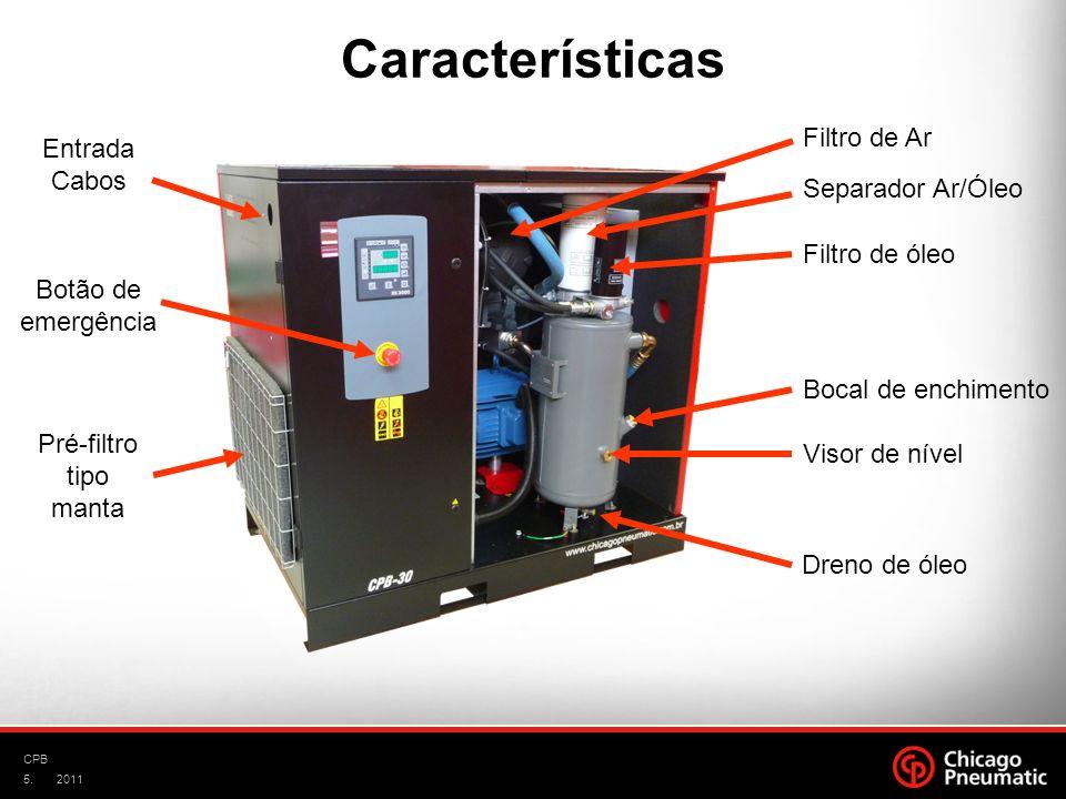 Características Filtro de Ar Entrada Cabos Separador Ar/Óleo