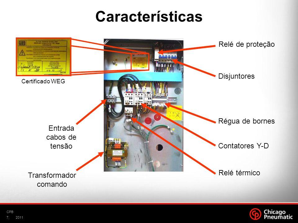 Características Relé de proteção Disjuntores Régua de bornes