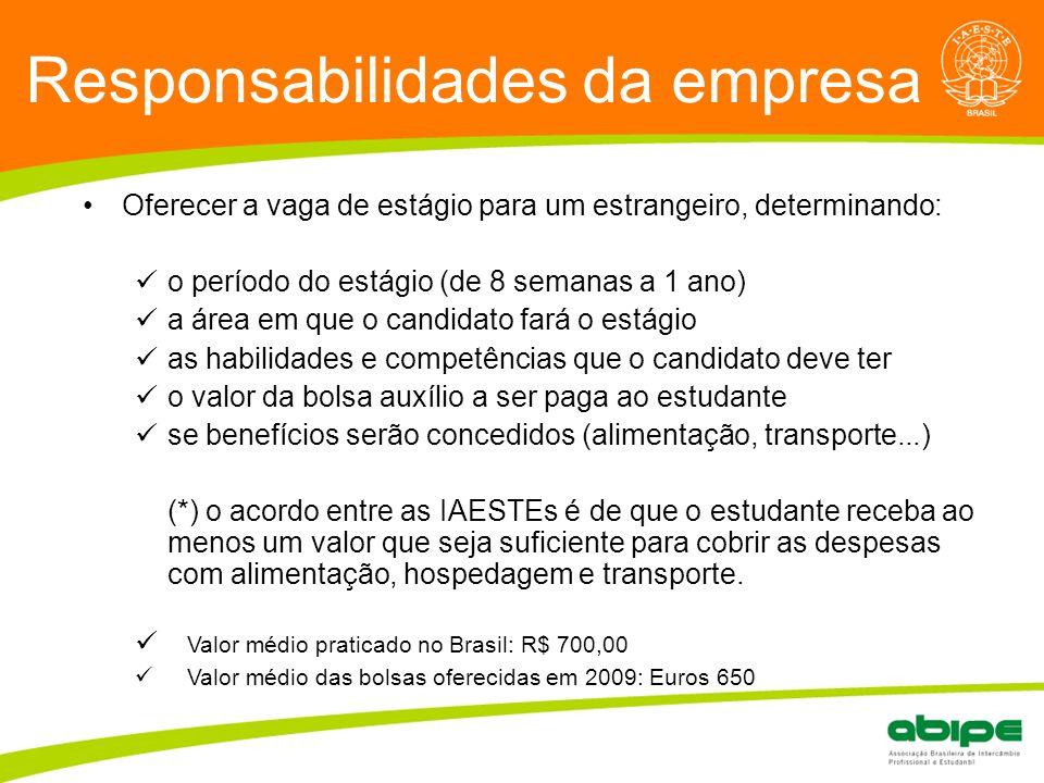 Responsabilidades da empresa