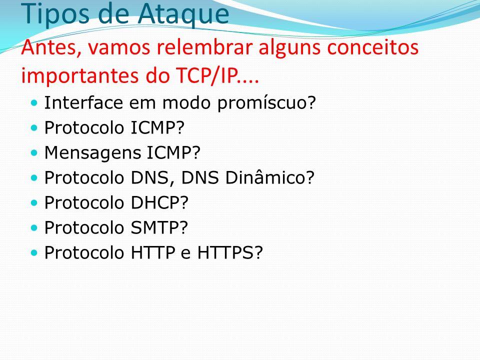 Tipos de Ataque Antes, vamos relembrar alguns conceitos importantes do TCP/IP....