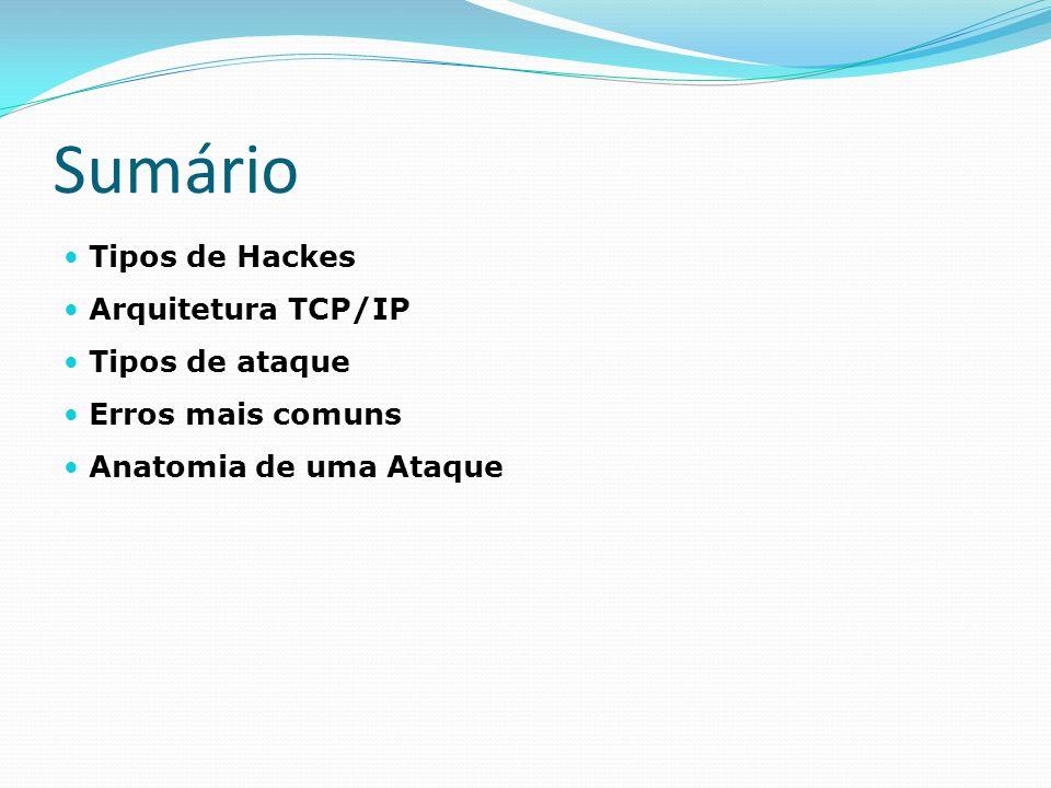 Sumário Tipos de Hackes Arquitetura TCP/IP Tipos de ataque
