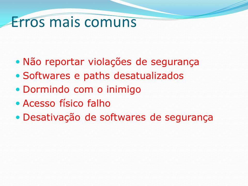 Erros mais comuns Não reportar violações de segurança