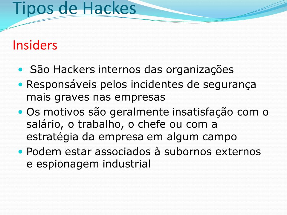 Tipos de Hackes Insiders