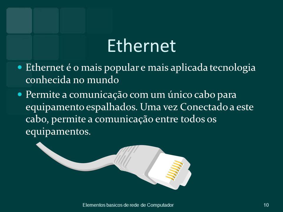 Ethernet Ethernet é o mais popular e mais aplicada tecnologia conhecida no mundo.