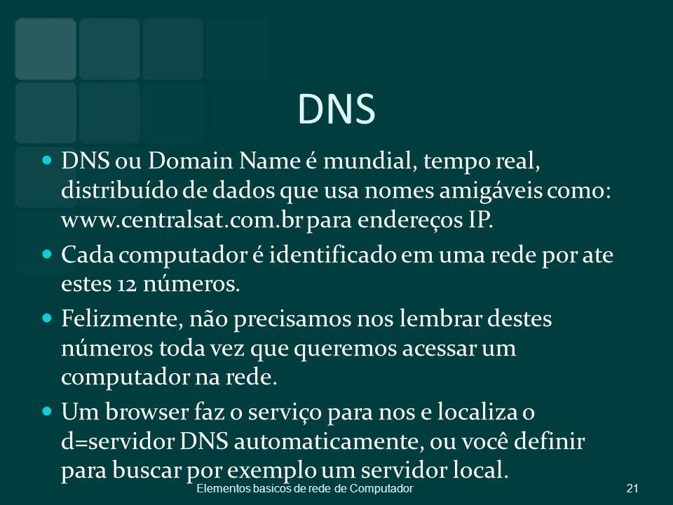 DNS DNS ou Domain Name é mundial, tempo real, distribuído de dados que usa nomes amigáveis como: www.centralsat.com.br para endereços IP.
