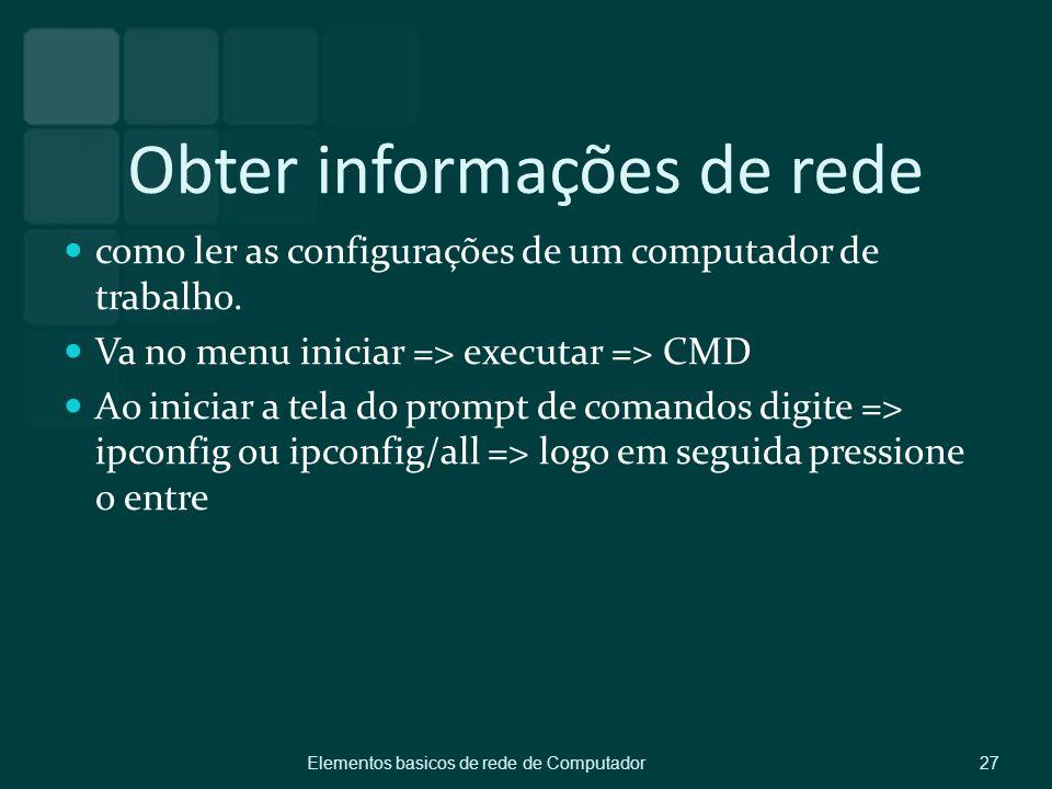 Obter informações de rede