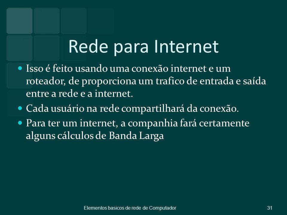 Rede para Internet Isso é feito usando uma conexão internet e um roteador, de proporciona um trafico de entrada e saída entre a rede e a internet.