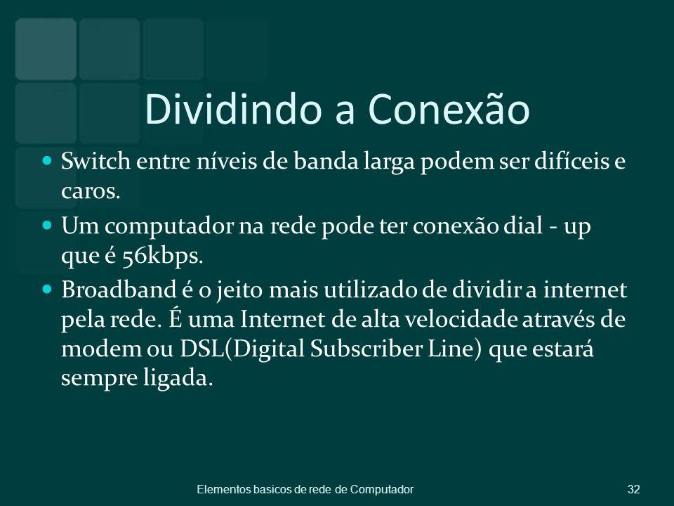 Dividindo a Conexão Switch entre níveis de banda larga podem ser difíceis e caros. Um computador na rede pode ter conexão dial - up que é 56kbps.