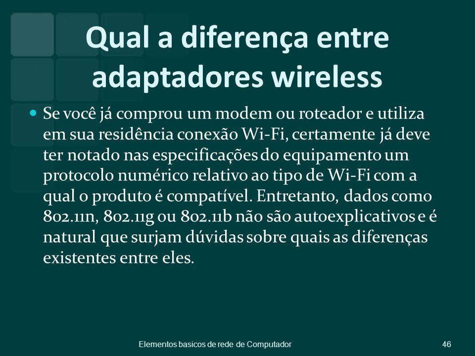 Qual a diferença entre adaptadores wireless