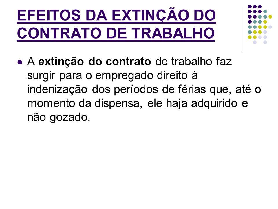 EFEITOS DA EXTINÇÃO DO CONTRATO DE TRABALHO