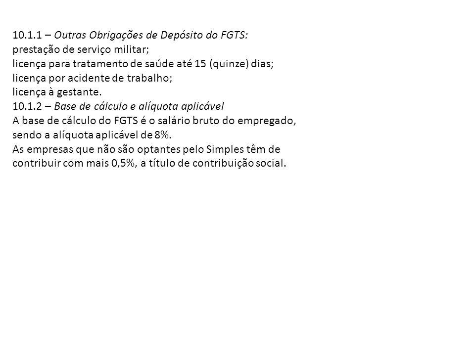 10.1.1 – Outras Obrigações de Depósito do FGTS: