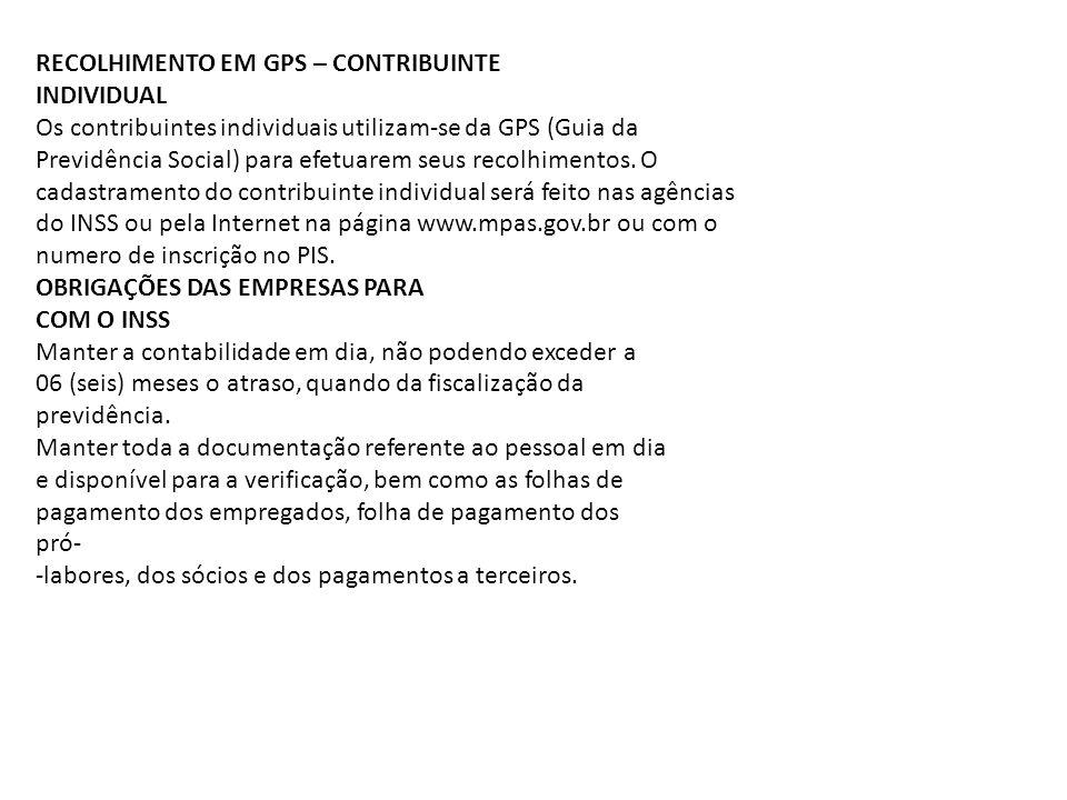 RECOLHIMENTO EM GPS – CONTRIBUINTE
