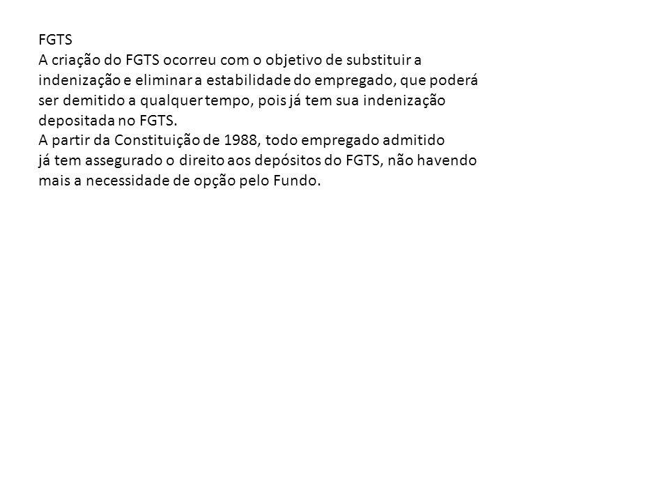 FGTS A criação do FGTS ocorreu com o objetivo de substituir a. indenização e eliminar a estabilidade do empregado, que poderá.