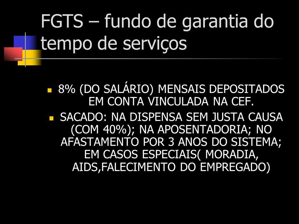 FGTS – fundo de garantia do tempo de serviços