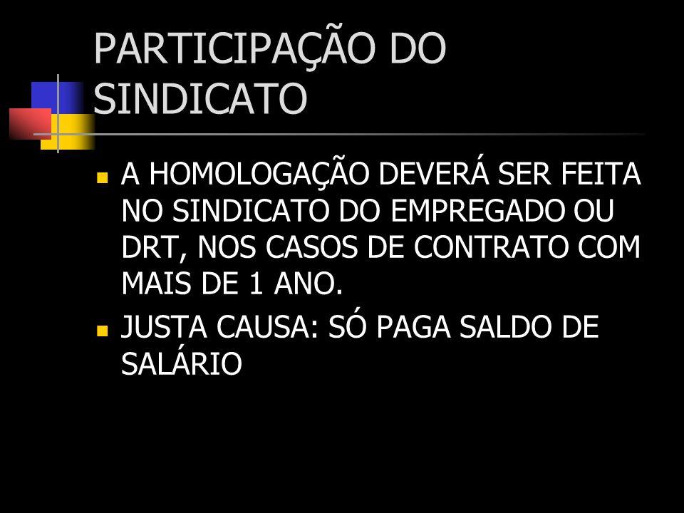 PARTICIPAÇÃO DO SINDICATO