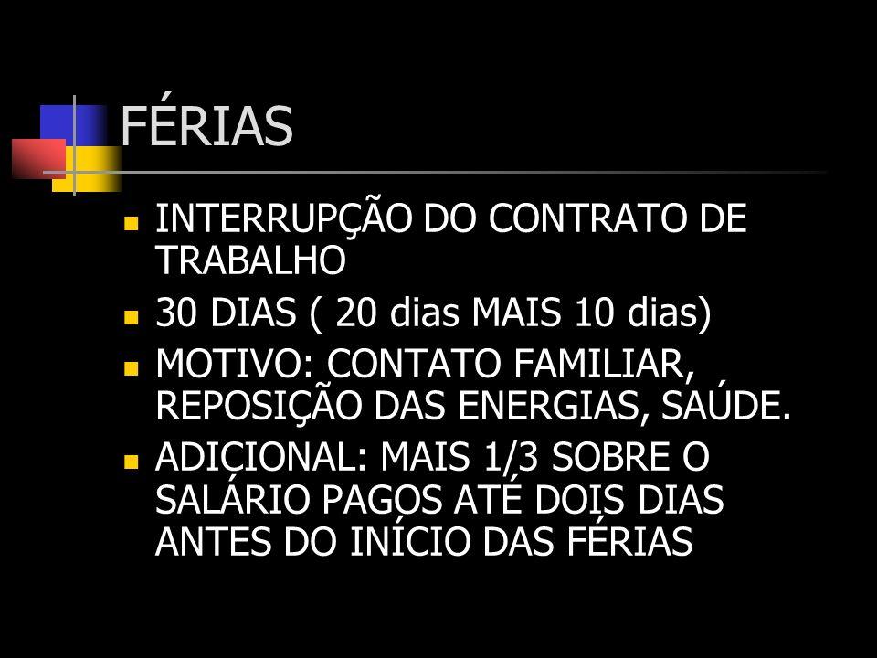 FÉRIAS INTERRUPÇÃO DO CONTRATO DE TRABALHO