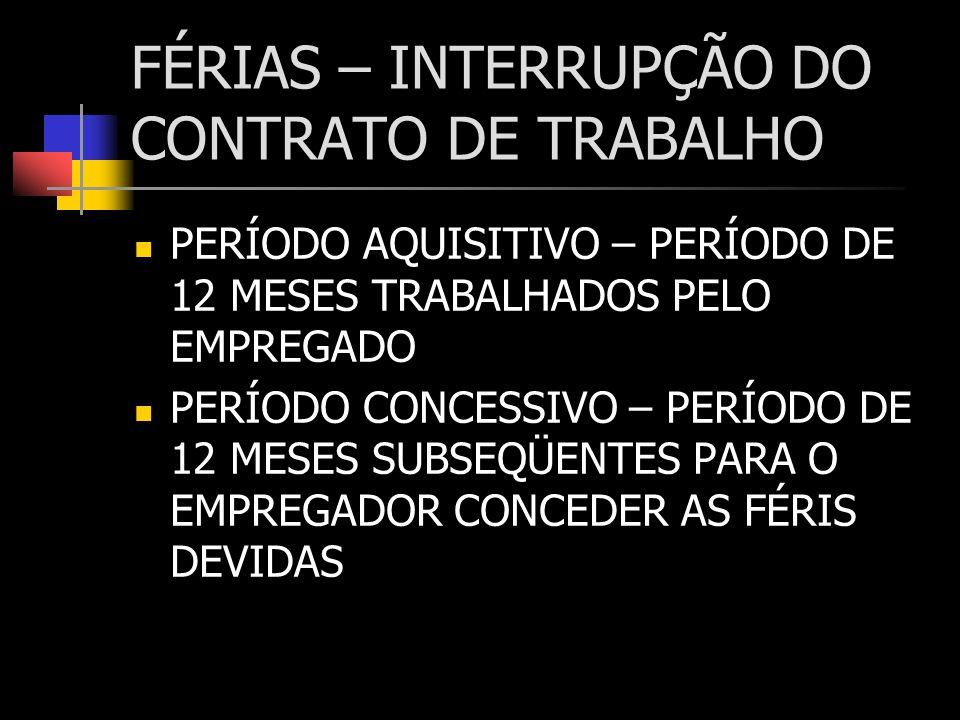 FÉRIAS – INTERRUPÇÃO DO CONTRATO DE TRABALHO