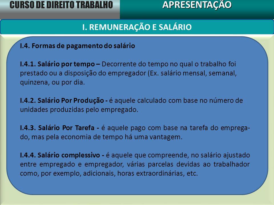 I. REMUNERAÇÃO E SALÁRIO