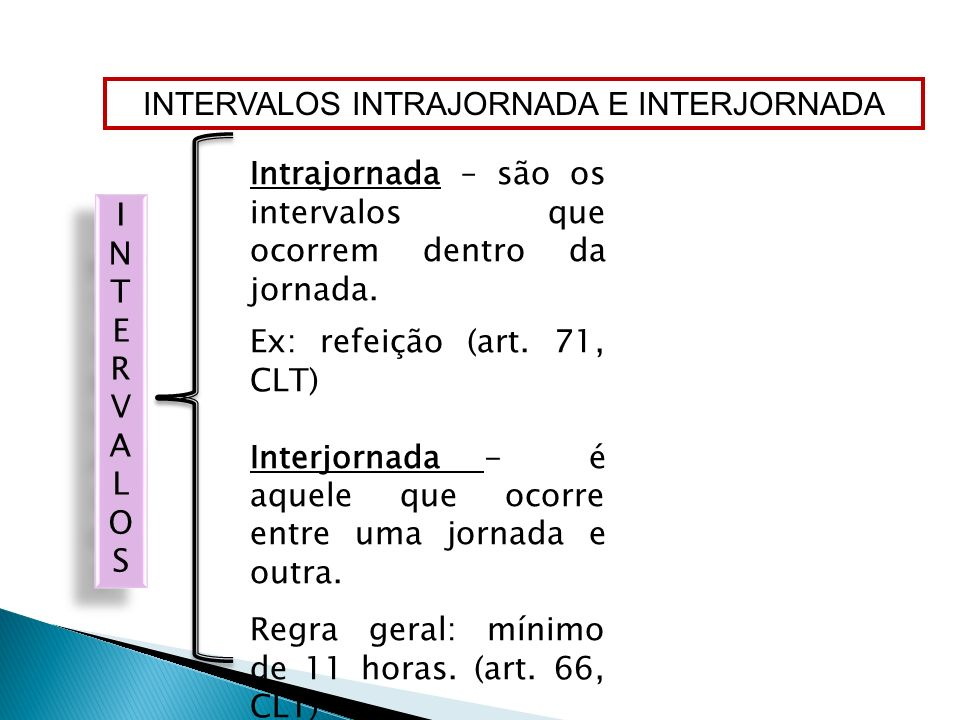 INTERVALOS INTRAJORNADA E INTERJORNADA