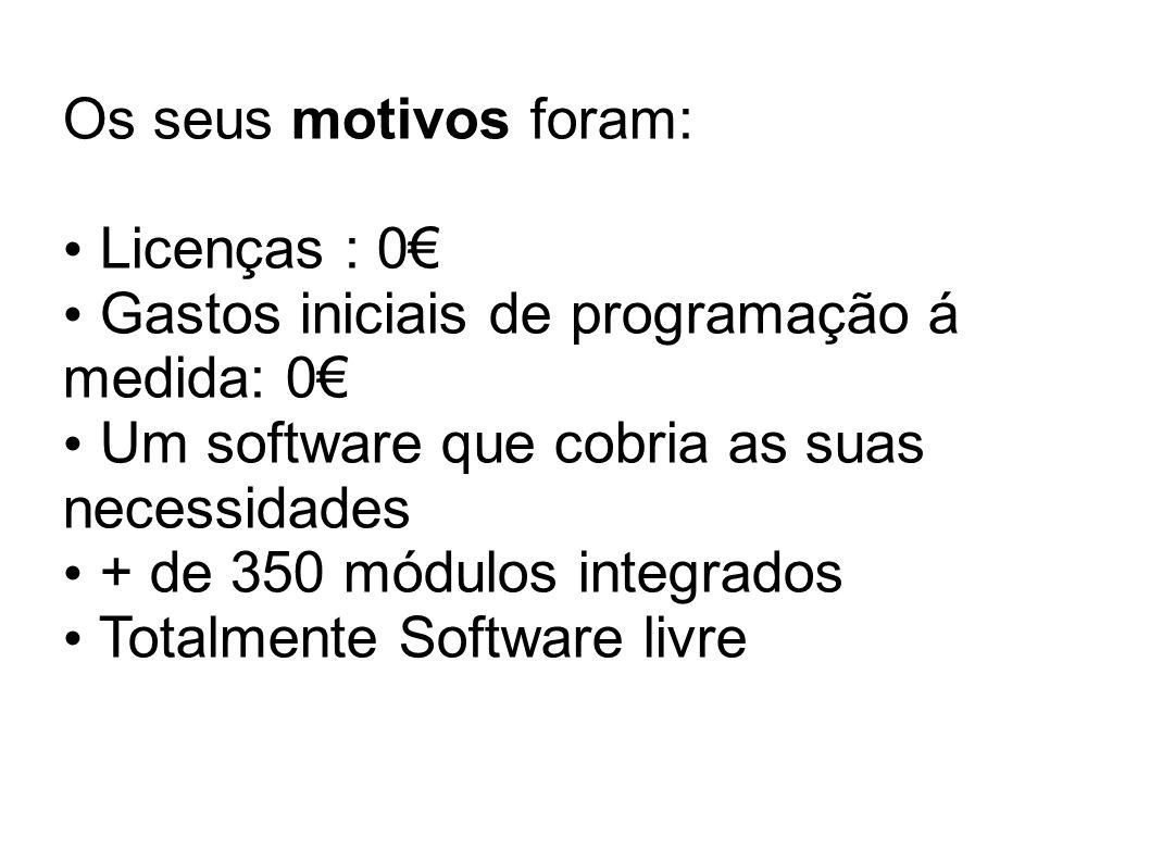 Os seus motivos foram: Licenças : 0€ Gastos iniciais de programação á medida: 0€ Um software que cobria as suas necessidades.
