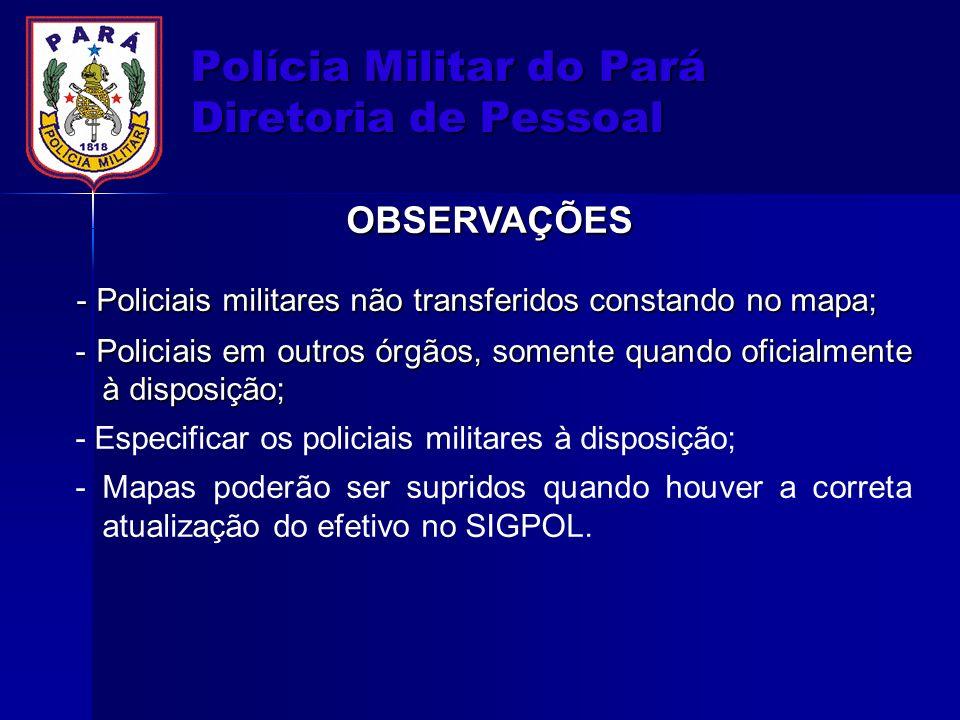 Polícia Militar do Pará Diretoria de Pessoal