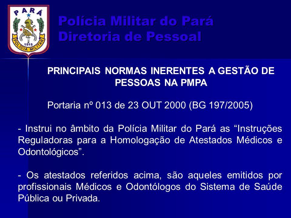 PRINCIPAIS NORMAS INERENTES A GESTÃO DE PESSOAS NA PMPA