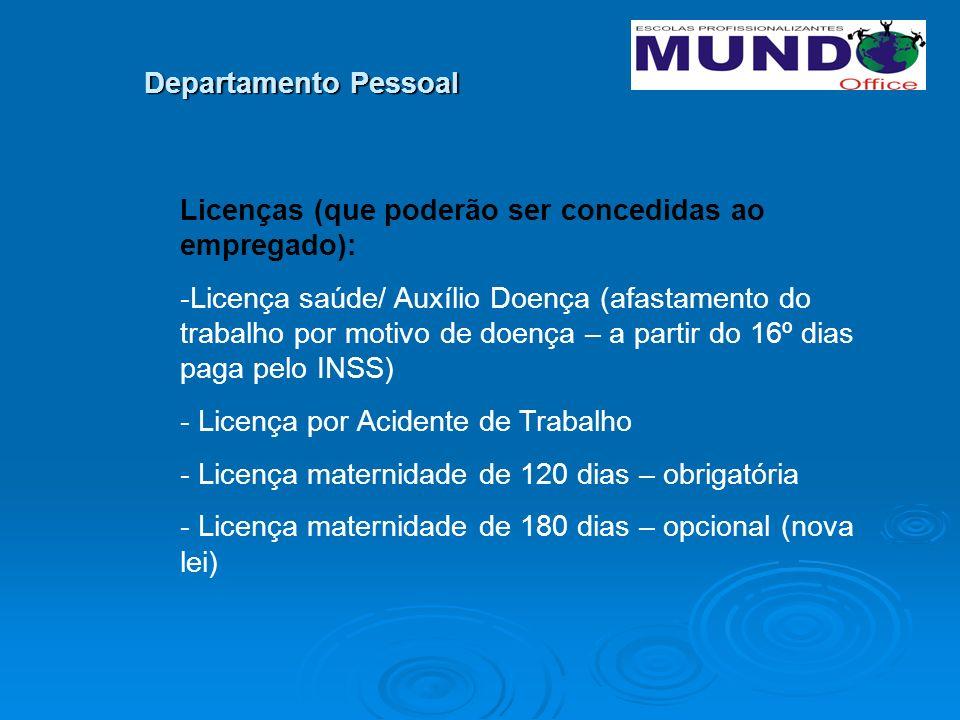 Departamento Pessoal Licenças (que poderão ser concedidas ao empregado):