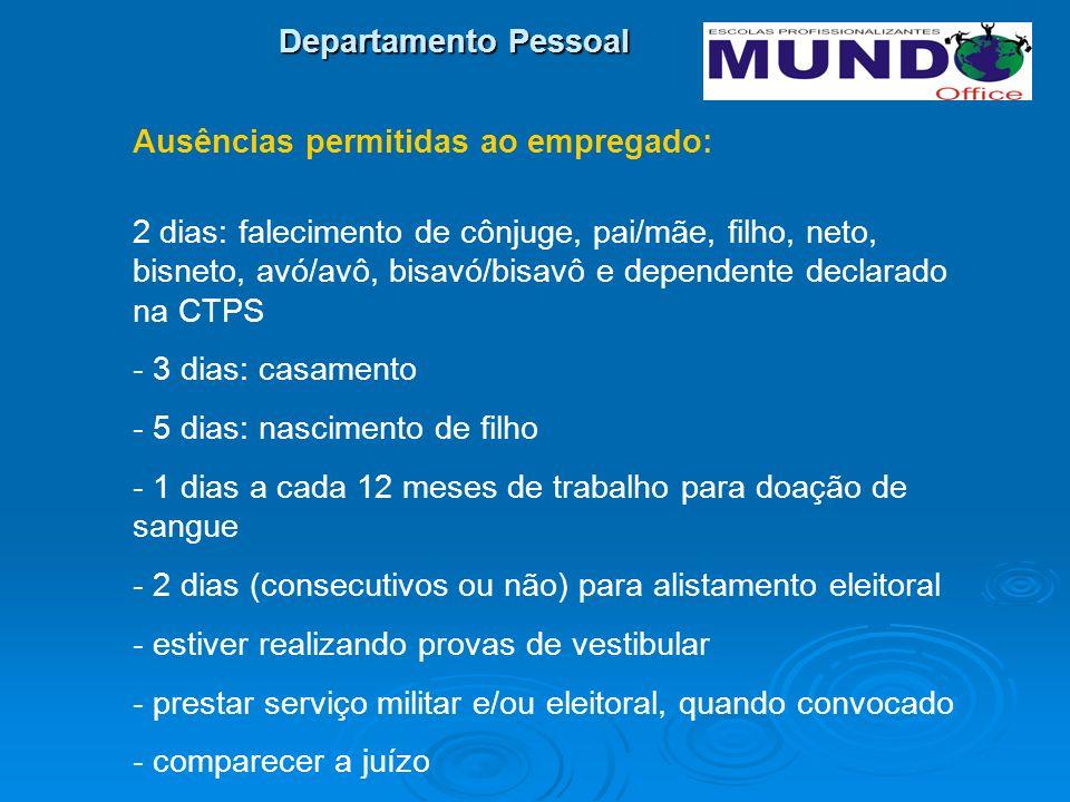 Departamento Pessoal Ausências permitidas ao empregado: