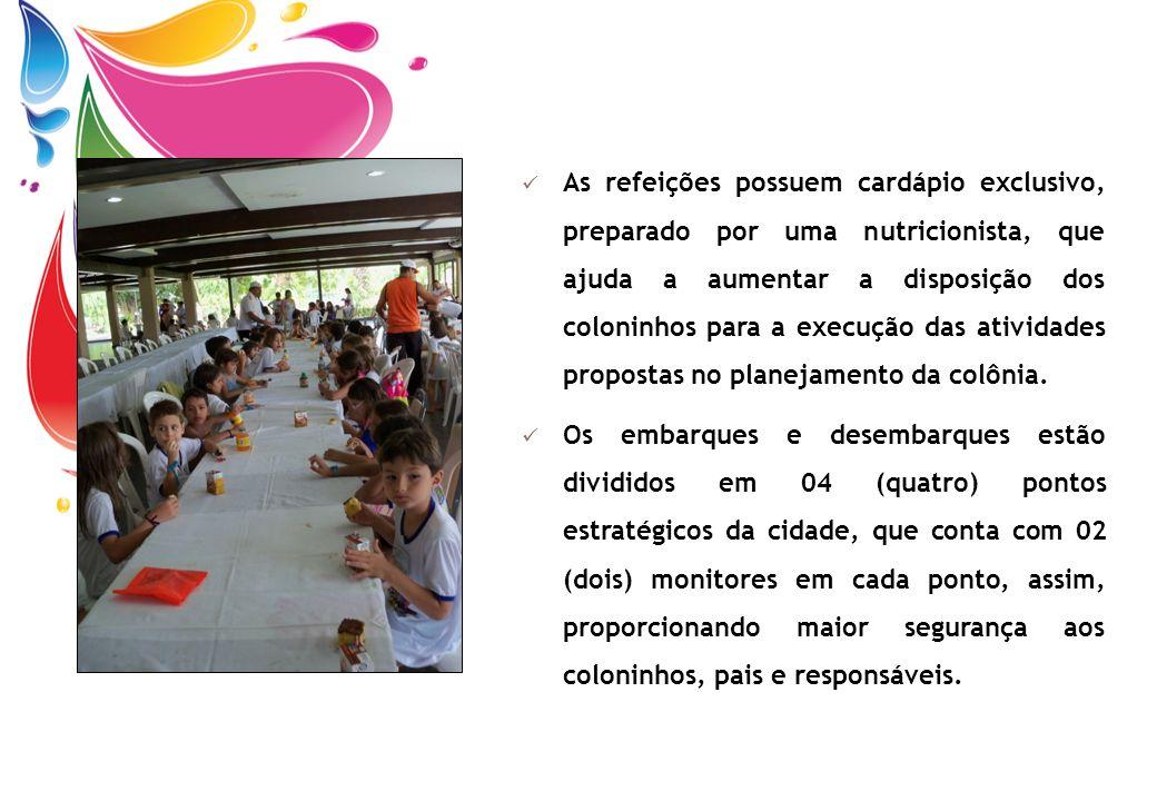 As refeições possuem cardápio exclusivo, preparado por uma nutricionista, que ajuda a aumentar a disposição dos coloninhos para a execução das atividades propostas no planejamento da colônia.