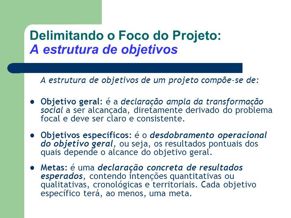 Delimitando o Foco do Projeto: A estrutura de objetivos
