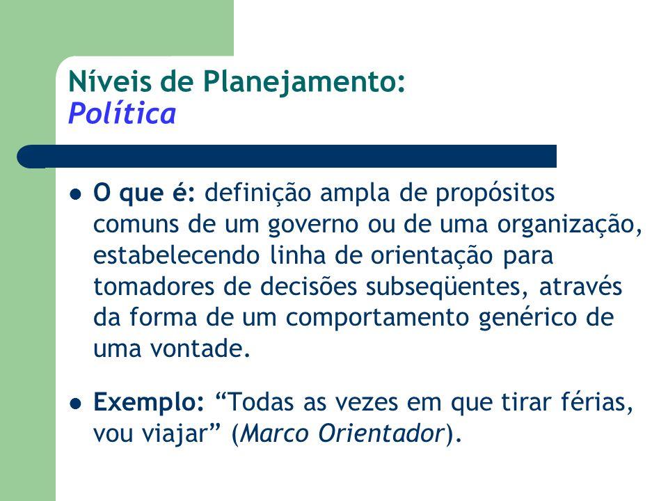 Níveis de Planejamento: Política