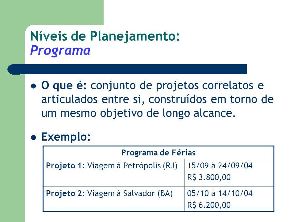 Níveis de Planejamento: Programa