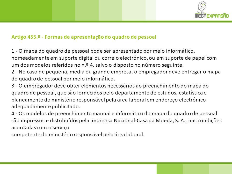 Artigo 455.º - Formas de apresentação do quadro de pessoal