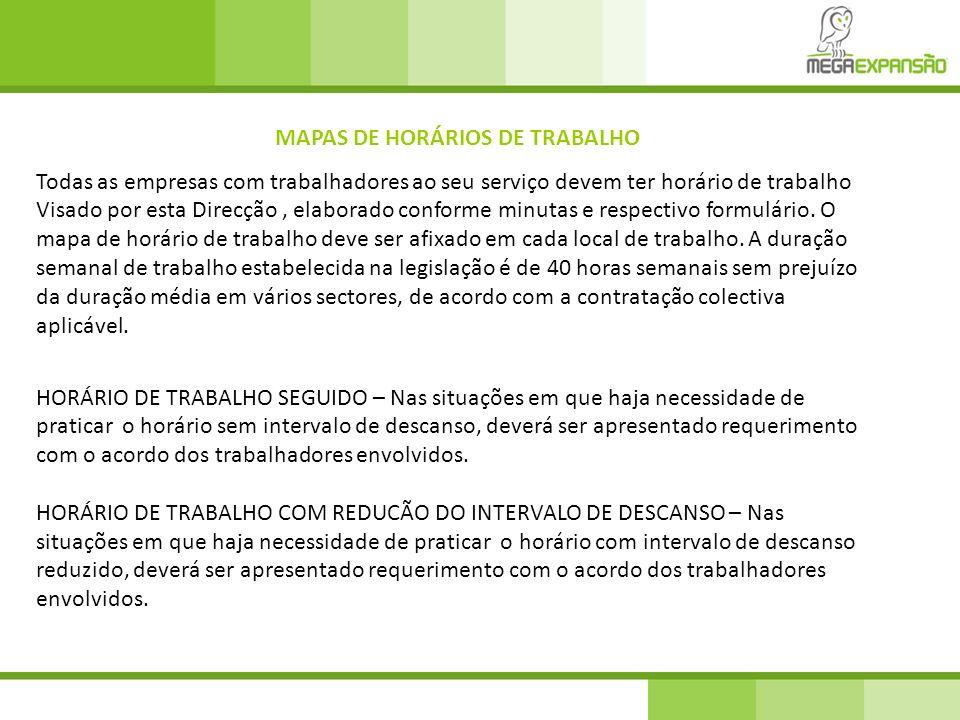 MAPAS DE HORÁRIOS DE TRABALHO